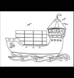 Contour image a floating sea cargo ship vector