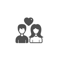 couple simple icon users with heart sign vector image