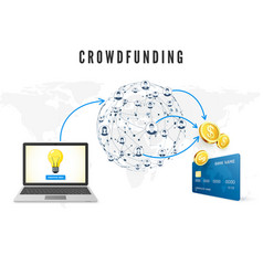 crowdfunding concept people from global network vector image
