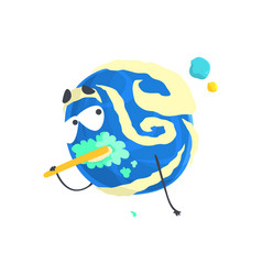 cute humanized blue planet character brushing its vector image