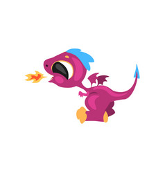 Cute little dragon having fun and breathing with vector