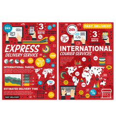 Delivery and international courier service posters vector