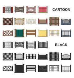 Different fence cartoon icons in set collection vector