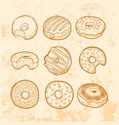 doodle doughnut vector image