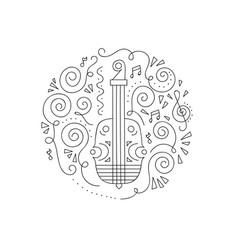 Doodle violin coloring page vector