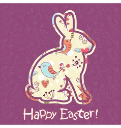 Easter bunny cute floral card vector