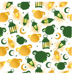 eid al adha seamless pattern with sheep vector image