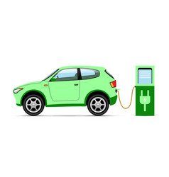 electro car at charging station on white vector image