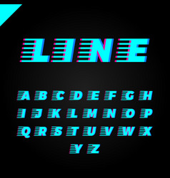 express service font fast speed lines alphabet vector image
