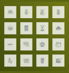 finance icons line style set with card to card vector image