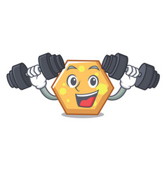fitness hexagon character cartoon style vector image