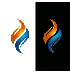 Flame water logo template vector