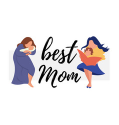 Flat banner best mom young mother vector