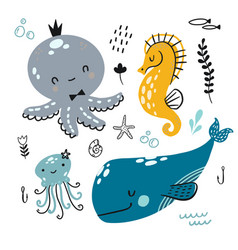 flat doodle underwater childish pattern a vector image