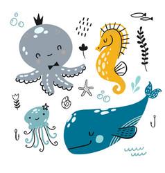 flat doodle underwater childish pattern vector image