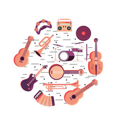 Fun instruments to music festival event vector
