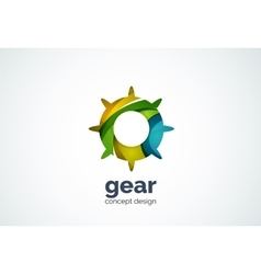 Gear logo template hi-tech digital technology vector image