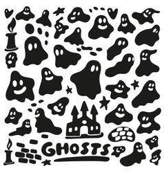Ghosts - doodles set vector