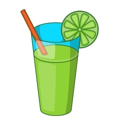 Glass of green cocktail icon cartoon style vector