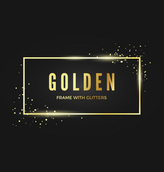 golden banner frame with shiny sparcles gold vector image