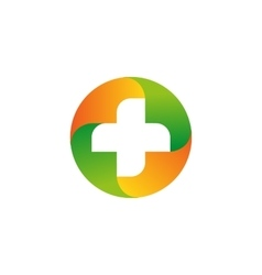 Green and orange medical cross logo Round vector