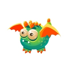 Green Fantastic Friendly Pet Dragon With Orange vector image
