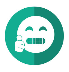 Grimacing face emoticon funny shadow vector