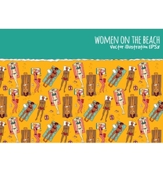Group women beach water sea summer rest color vector