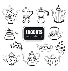 Hand drawn teapots collection vector