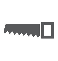hand saw glyph icon tool and repair handsaw vector image