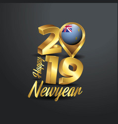 Happy new year 2019 golden typography with tuvalu vector