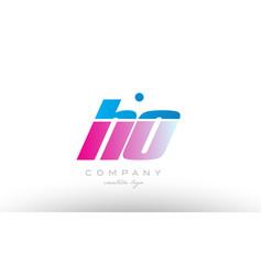 Ho h o alphabet letter combination pink blue bold vector