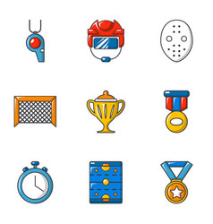 Hockey prize icons set cartoon style vector