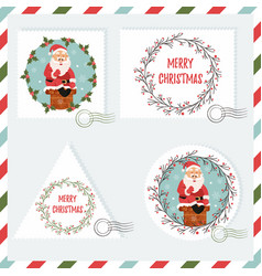 Holiday set of stamps with santa vector
