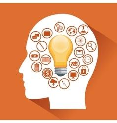 Human head and big idea design vector