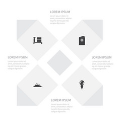 Icon trip set of cart pointer peak and other vector