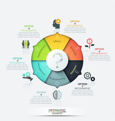 Infographics - pie chart with 6 options vector