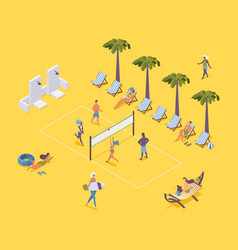 Isometric beach volleyball with players and vector