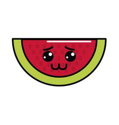 Kawaii nice shy watermelon icon vector