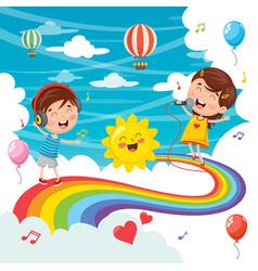 kids jumping on rainbow vector image