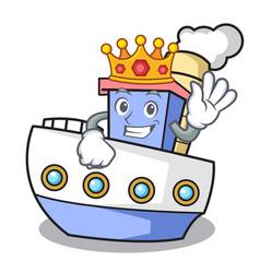 King ship mascot cartoon style vector