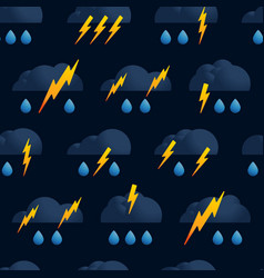 lightning cloud rain seamless pattern thunder vector image