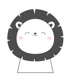 lion face head sketch line icon kawaii animal vector image