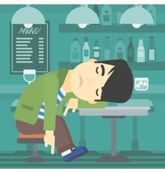 Man sleeping in bar vector