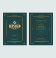 menu design template with cover and restaurant vector image