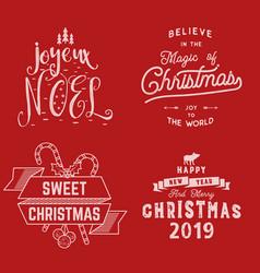 merry christmas happy new year joyeux noel 2019 vector image