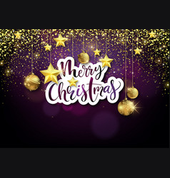 merry xmas background with golden decoration vector image