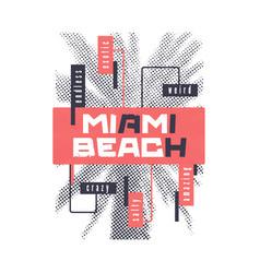 miami beach graphic summer t-shirt design vector image