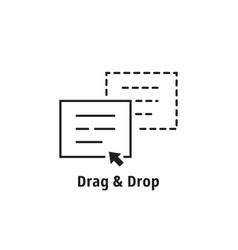 Minimal thin line drag drop icon vector