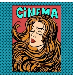 Movie poster woman actress heroine cinema vector